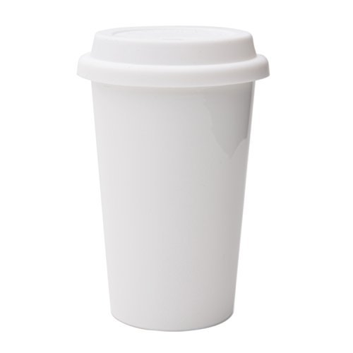 UDMG Reusable Double Wall Insulated White Ceramic Travel Coffee Cup with Lid &...