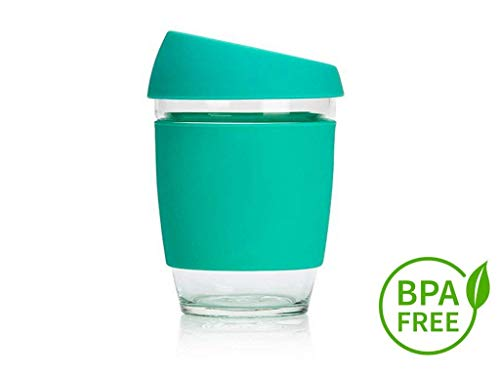 New Design 2018 Reusable Glass Coffee Cup -12oz - Eco-Friendly - BPA Free -...