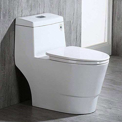 WoodBridge T-0001, Dual Flush Elongated One Piece Toilet with Soft Closing Seat