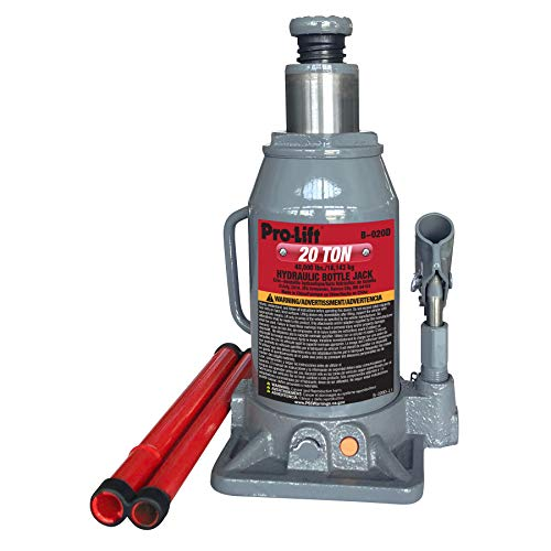 Pro-Lift B-020D Grey Hydraulic Bottle Jack - 20 Ton Capacity