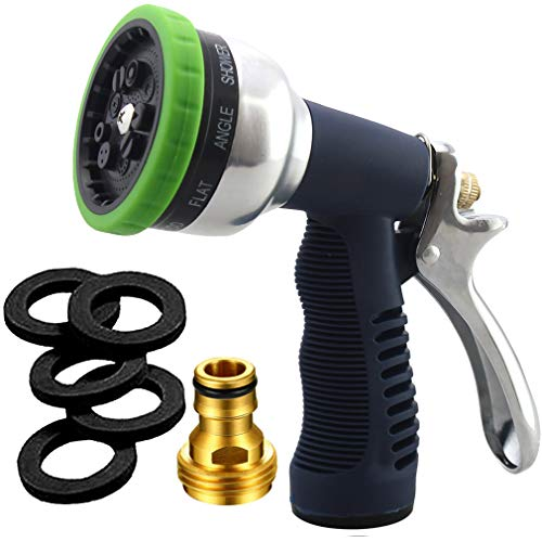 SUNRICH Garden Hose Nozzle Heavy Duty Spray 9 Adjustable Patterns Metal