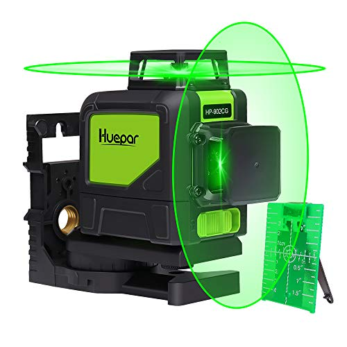 Huepar 902CG Self-Leveling 360-Degree Cross Line Laser Level with Pulse