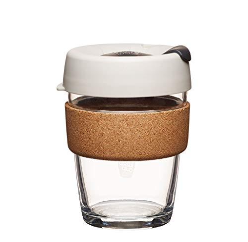 KeepCup 12oz Reusable Coffee Cup. Toughened Glass Cup & Natural Cork
