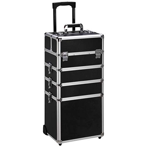 Ollieroo 4 in 1 Aluminum Rolling Cosmetic Makeup Train Cases Trolley