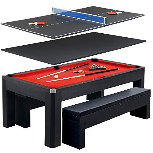 Hathaway Park Avenue 7' Pool Table Tennis Combination With Dining Top, Two