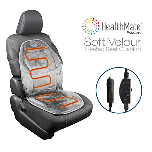 HealthMate IN9438-2 Velour 12V Heated Seat Cushion with Lumbar