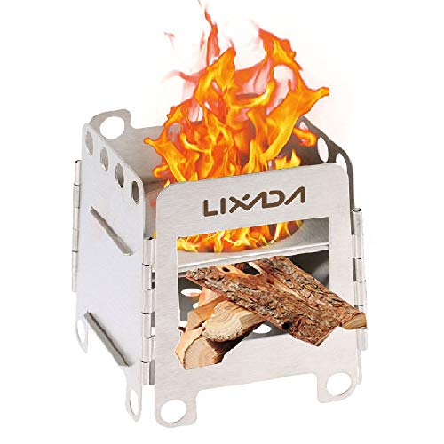 Lixada Camping Stove Wood Burning Stoves Potable Folding Stainless Steel
