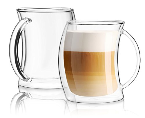 Joyjolt cameo collection glass coffee cup double wall insulated mugs