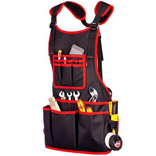 NoCry Heavy Duty Work Apron - 26 Tool Pockets, Tape Measure Holder, D Ring