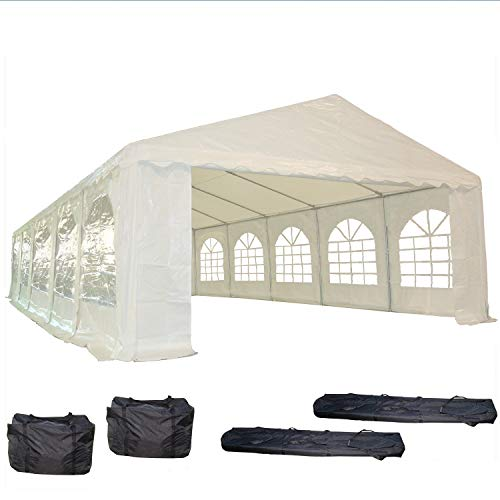 32'x16' PE Party Tent White - Heavy Duty Wedding Canopy Carport Shelter