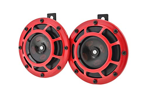HELLA 003399801 Supertone 12V High Tone / Low Tone Twin Horn Kit with Red