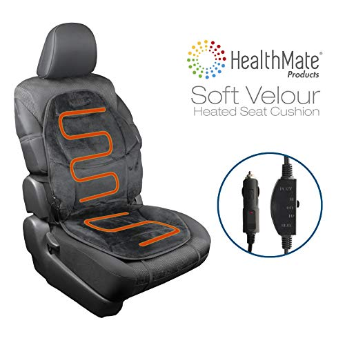 HealthMate IN9438 Velour 12V Heated Seat Cushion with Lumbar