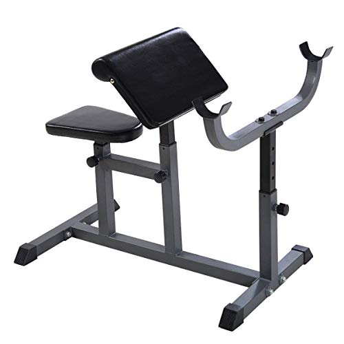 GYMAX Preacher Curl Weight Bench, Heavy Duty Adjustable Arm Curl Bench for Upper Limb Muscle Strength Training,