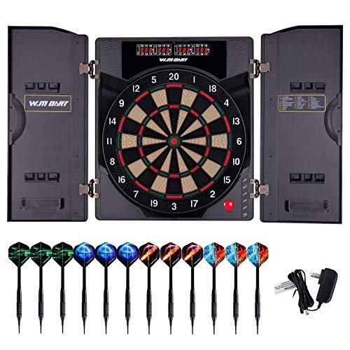 WIN.MAX Electronic Soft Tip Dartboard Set with Cabinet