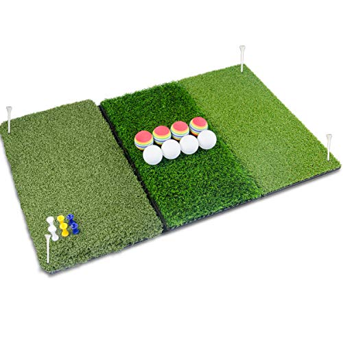 Perfshot Tri-Turf 3-in-1 Golf Hitting Mat with Realistic Tee Box | Fairway