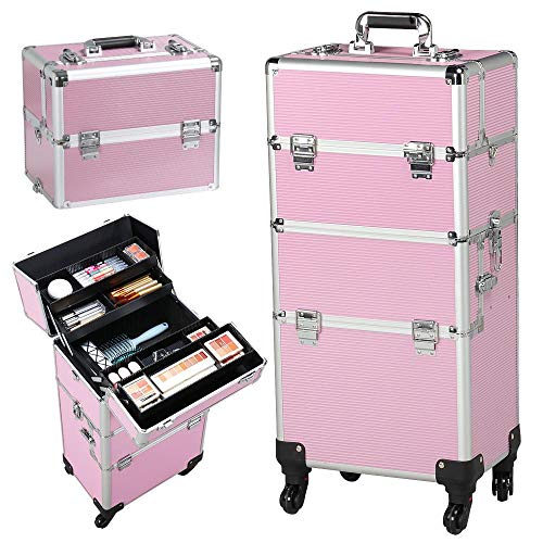 Yaheetech 4 wheels 3 in 1 Professional Rolling Train Cases, Pink Makeup Artist