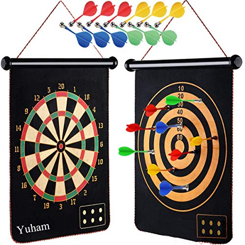 Yuham Magnetic Dart Board Indoor Outdoor Games for Kids and Adults with 12