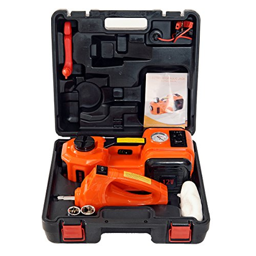 MarchInn 12V DC 5.0T(11000lb) Electric Hydraulic Floor Jack And Tire Inflator