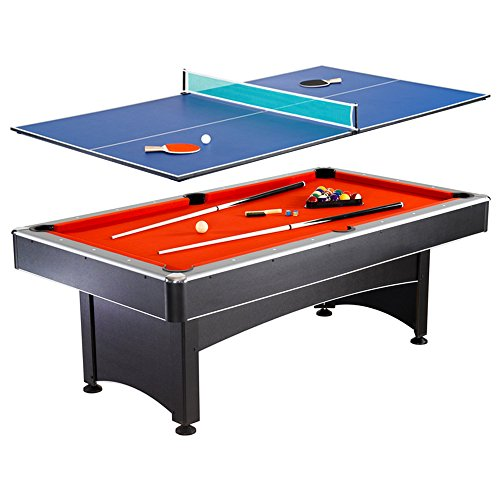 Hathaway Maverick 7-foot Pool and Table Tennis Multi Game with Red Felt