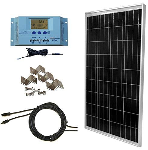 WindyNation 100 Watt Solar Panel Off-Grid RV Boat Kit with LCD PWM Charge