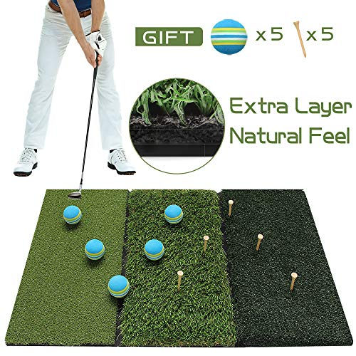 Running Raccoon Tri-Turf Golf Hitting Driving Mat, Practice Mat, Foldable