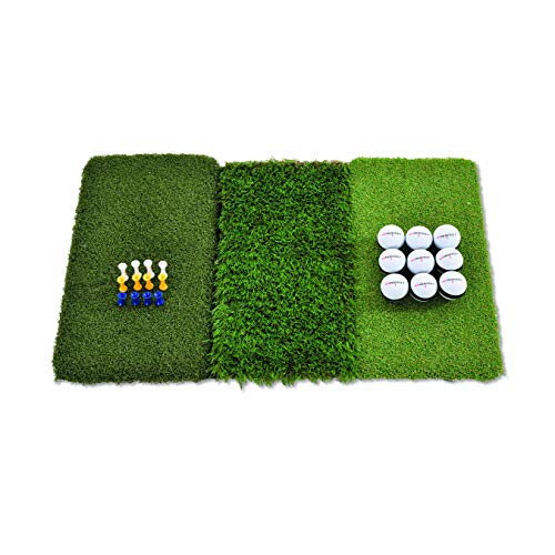 Rukket Tri-Turf Golf Hitting Mat Attack | Portable Driving, Chipping, Training