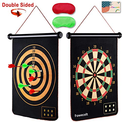 Fowecelt Safety Magnetic Dart Board for Kids Teens, Indoor Outdoor Double