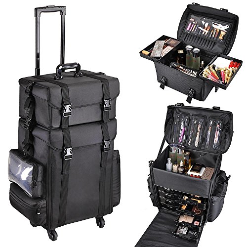 SHANY Cosmetics 2 Compartment Soft Black Rolling Trolley Makeup Case with