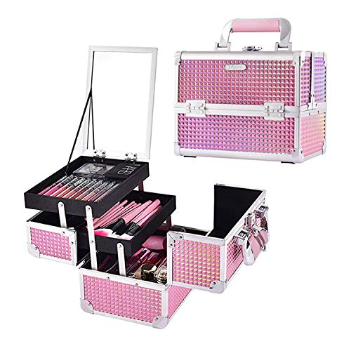 Joligrace Makeup Train Case Portable Cosmetic Box Jewelry Organizer