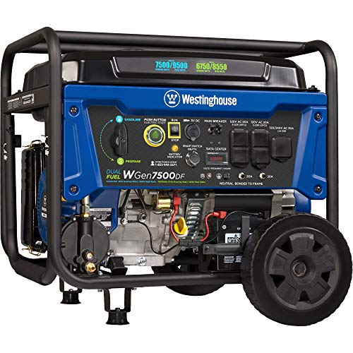 Westinghouse WGen7500DF Dual Fuel Portable Generator - 7500 Rated Watts