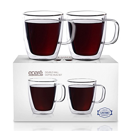 Eparé insulated coffee cup set (12oz, 350ml) Double wall tumbler glass cup-mug