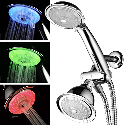 Luminex by PowerSpa 7-Color 24-Setting LED Shower Head Combo with Air