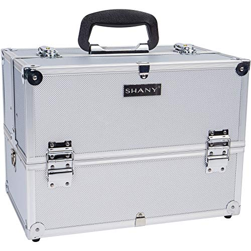SHANY Essential Pro Makeup Train Case with Shoulder Strap and Locks – Silver