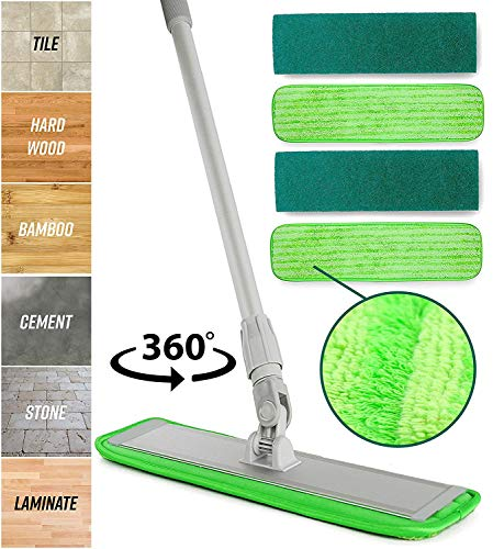 Microfiber Mop Floor Cleaning System - Washable Pads Perfect Cleaner for Hardwood