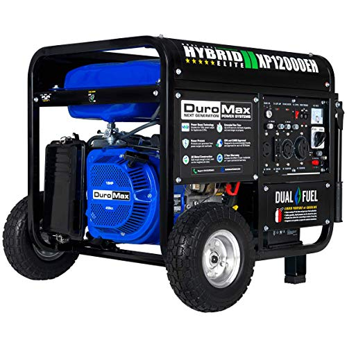 DuroMax XP12000EH Dual Fuel Electric Start Portable Generator, Blue & Black