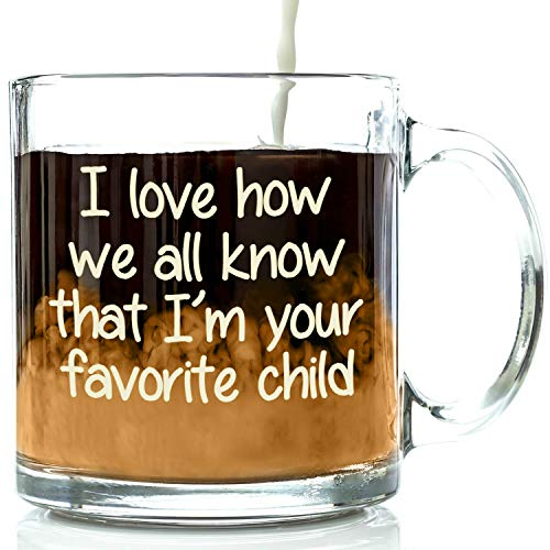 I'm Your Favorite Child Funny Glass Coffee Mug, Christmas Gifts For Mum Or Dad