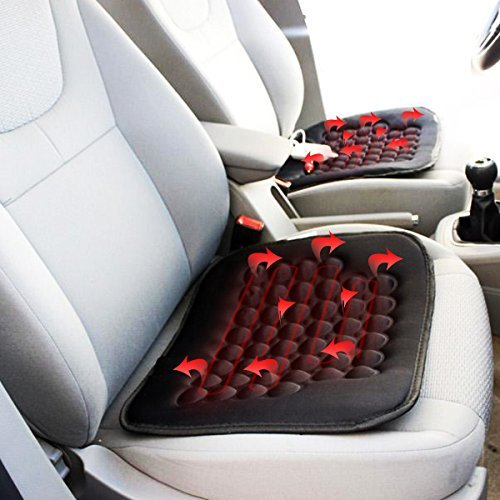 Zone Tech Heated Car Seat Cushion -2-Pack Black 12V Heating Warmer