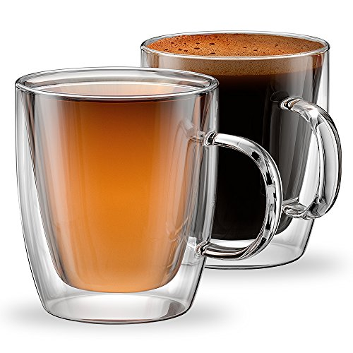 Stone & Mill Glass Coffee Mugs Double Wall Insulated Cups for Espresso, Latte,