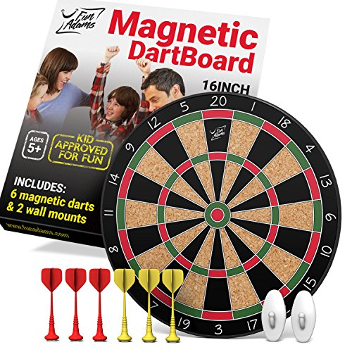 Fun Adams Magnetic Dartboard 16 inch with Safe Precision Darts, Best Gift